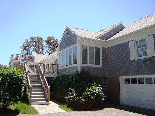 back entry- gate at top of stairs - great if traveling with small child or pet! - Waterfront North Chatham Cape Cod New England Vacation Rentals