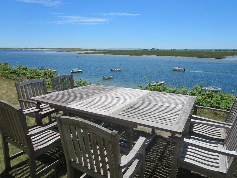 Outside dining with a 5 star view at the Bluff! - 30 Seabeach Road Chatham Cape Cod New England Vacation Rentals