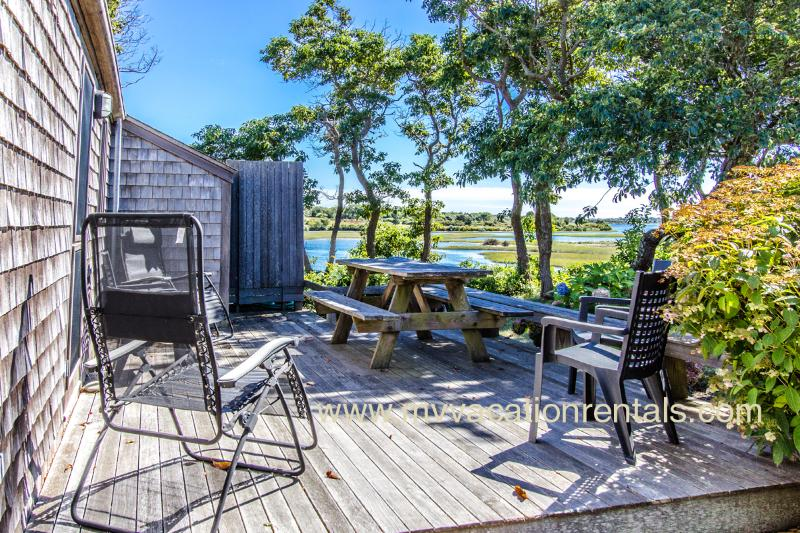 Deck with Views Across Menemsha Pond