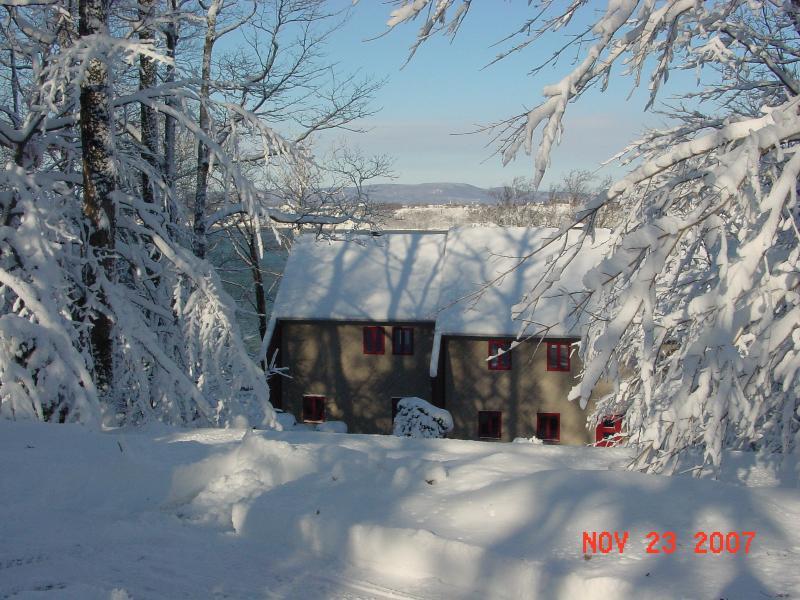 Winter Scene Driveway side of House