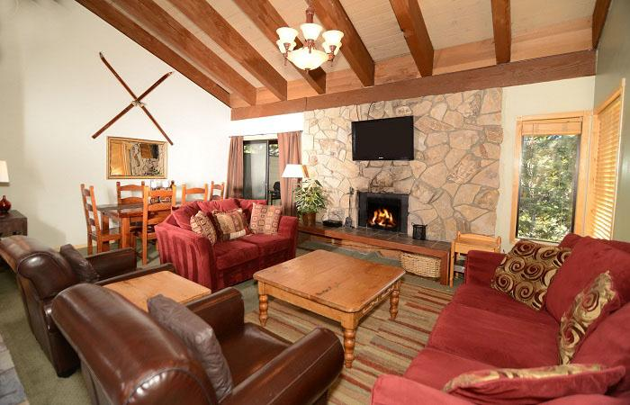 Fireside at The Village #306 Living Area With A Wood Burning Fireplace