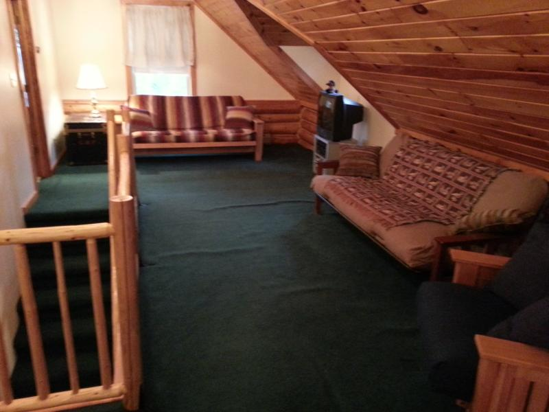 Upstairs loft area with two full size futon beds