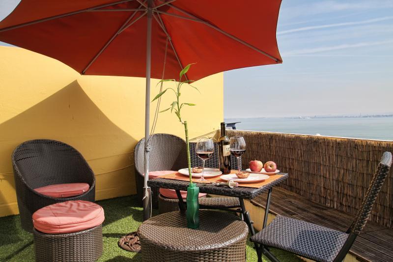 La terraza ofrece muebles de jardín, incluyendo varios cojines para mayor comodidad