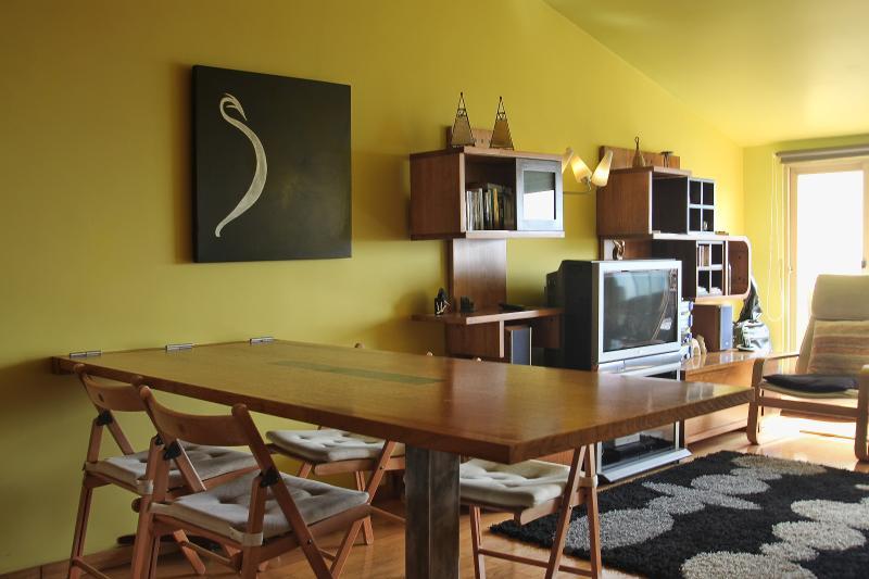 Le salon dispose d'une grande table amovible, adaptée aux repas ou travail