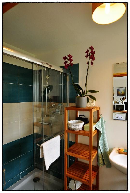 La salle de bain est équipée d une grande cabine de douche (140*90) pour votre confort.