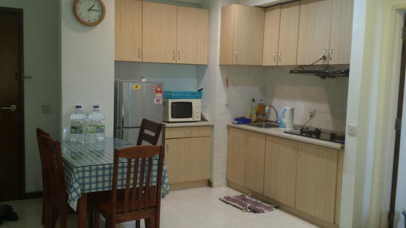 Kitchen - 2 door fridge, microwave, toaster, sandwich maker, utensils etc