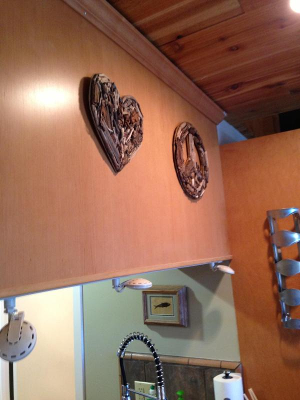 Driftwood Love and Peace above counter