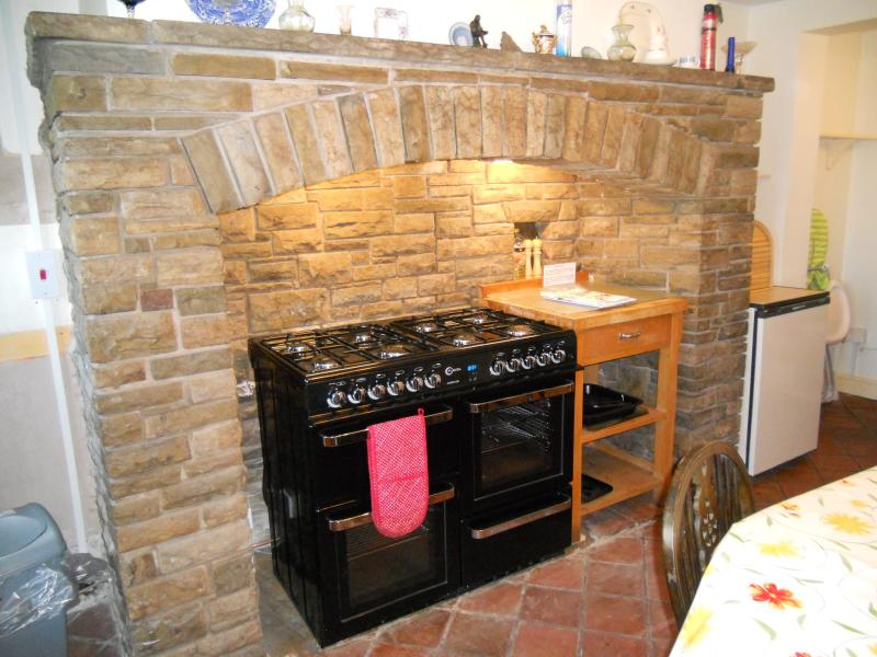 The kitchen, featuring a large dual-fuel range cooker