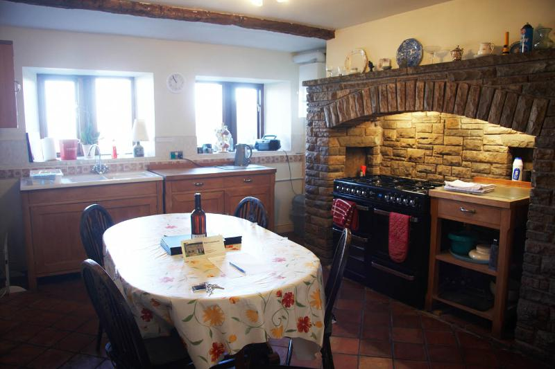 The farmhouse kitchen, with large dual-fuel range cooker
