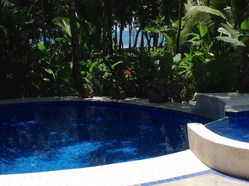 Relájese en la piscina mientras escuchaba el choque de las olas!