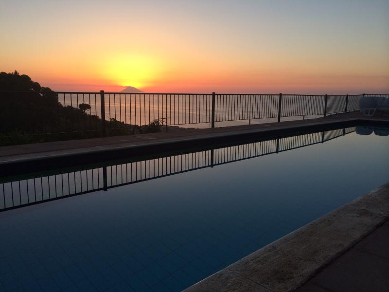 during the sunset from the swimming-pool