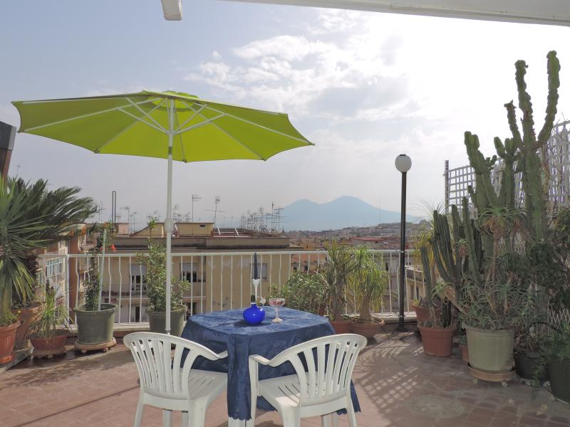 the vieuw of Vesuvio volcano from brigth and fine the terrace
