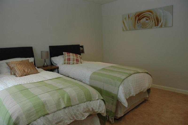 The twin bedroom with 3 foot wide beds.