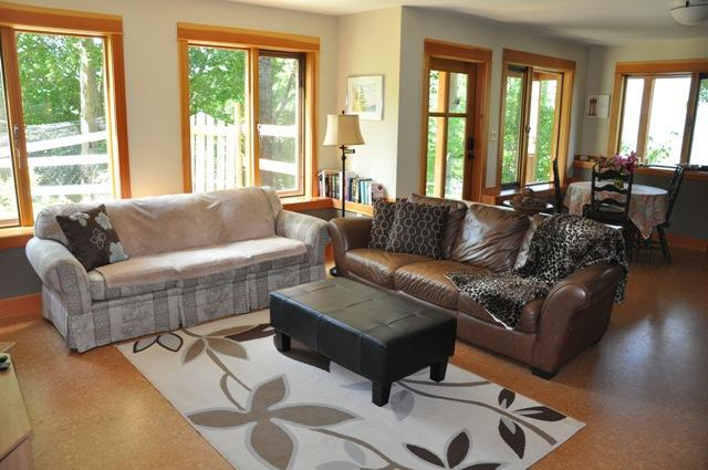 Cozy living room with all the natural light