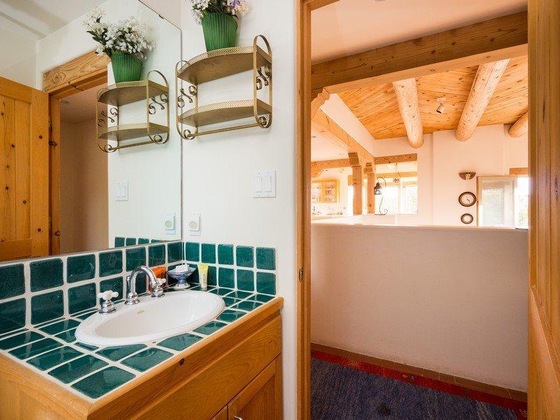 Bathroom view into hallway