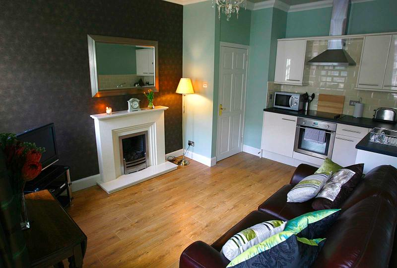lounge/kitchen area with window onto Royal Mile