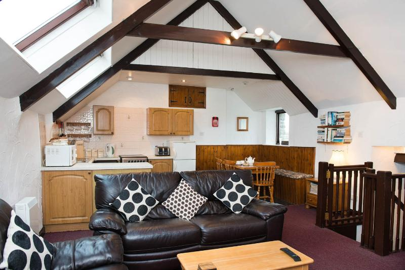 Área de Cottage cozinha/sala de estar/sala de jantar do celeiro