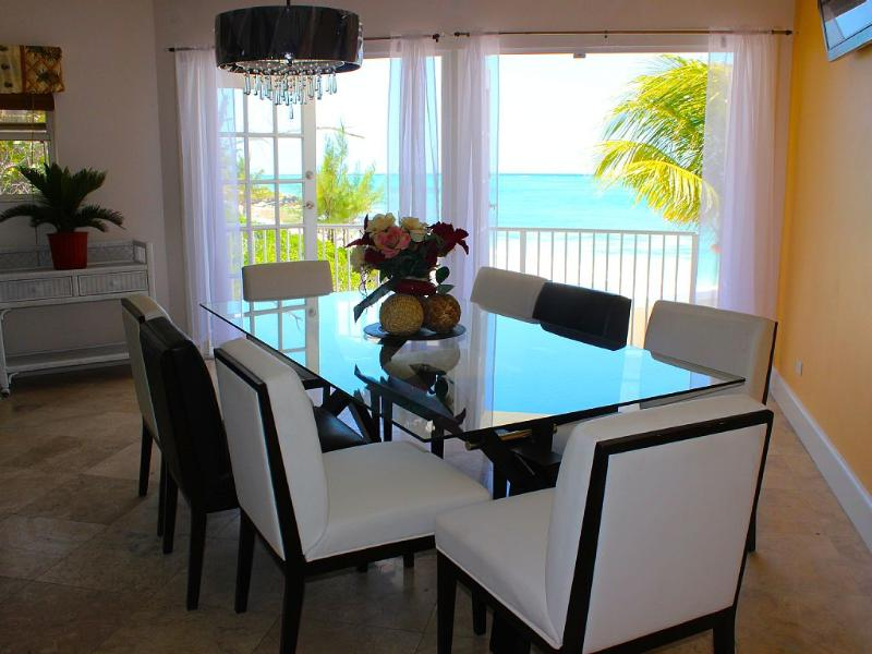 Modern dining room with spectacular ocean views!