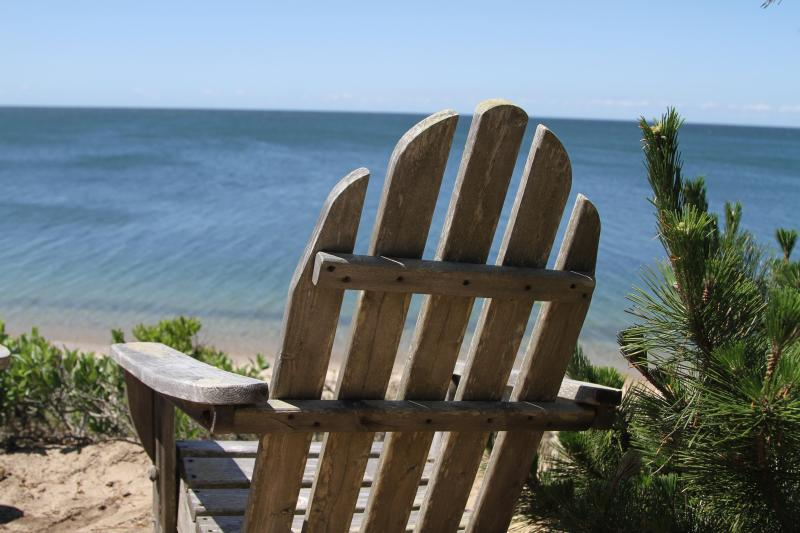 Beach chair overlooking the bay.