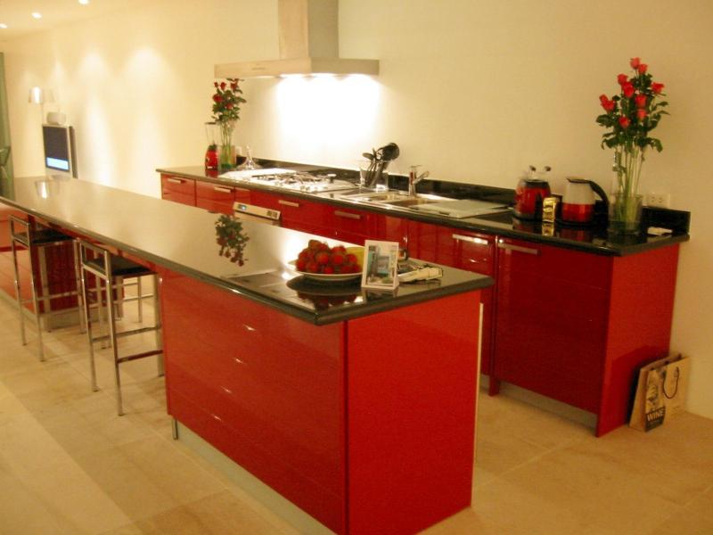 Long galleried open plan kitchen