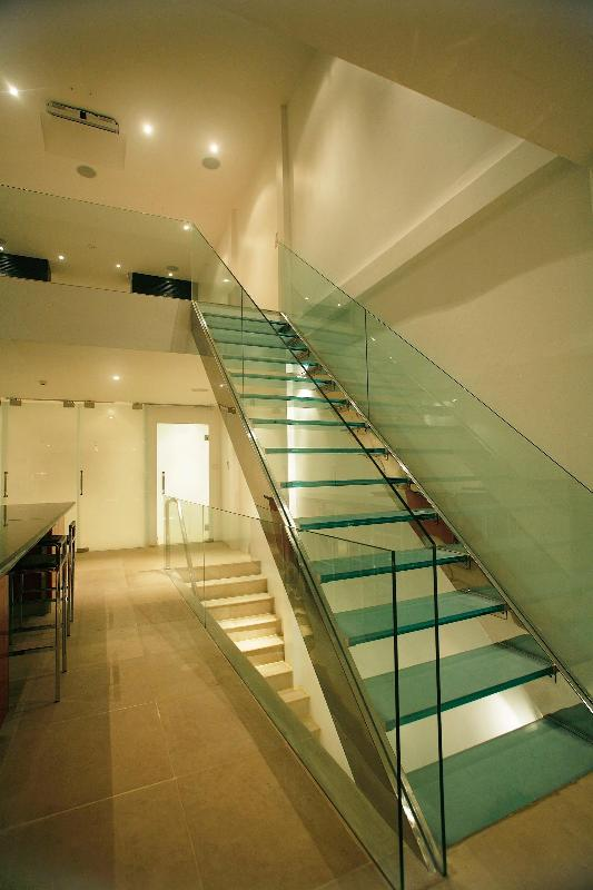 Glass staircase upstairs !