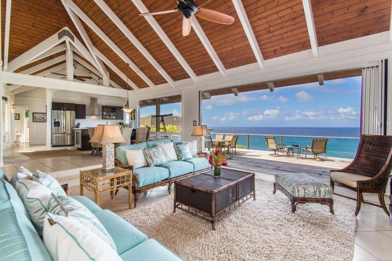living area with ocean views