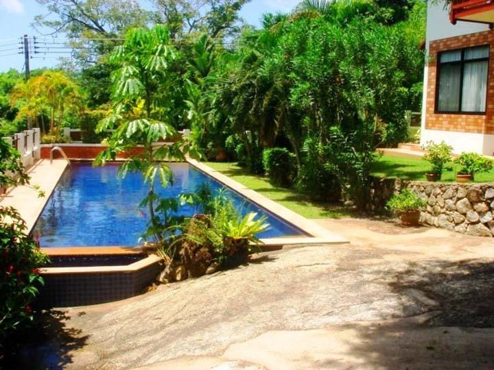 Pool view from natural granite terrace