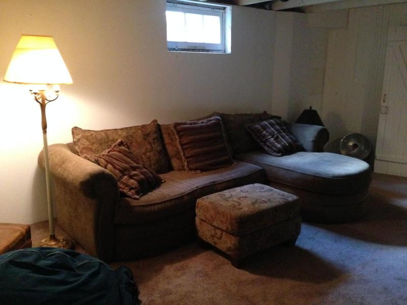 Downstairs TV area with flat screen.