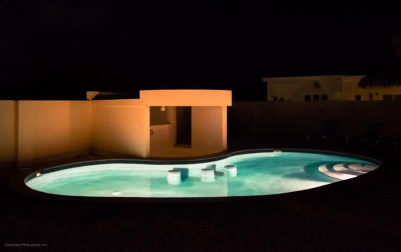 A view of the pool at night