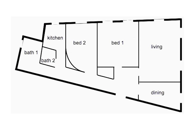 Floor plan -  bedrooms are on side of palazzo, living and dining rooms face Via della Mercede