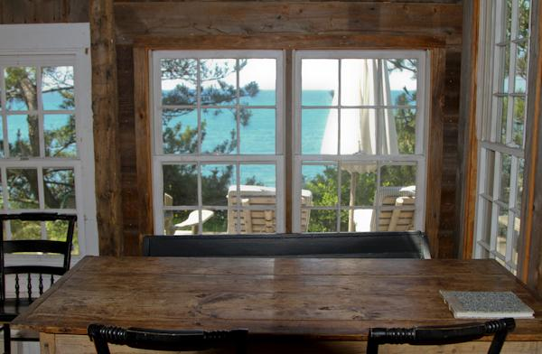 Dining table with bay views.