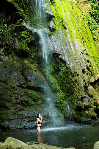 cooling off in a nearby waterfall
