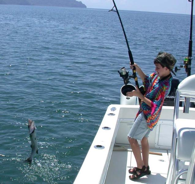 our guest catches a barracuda.