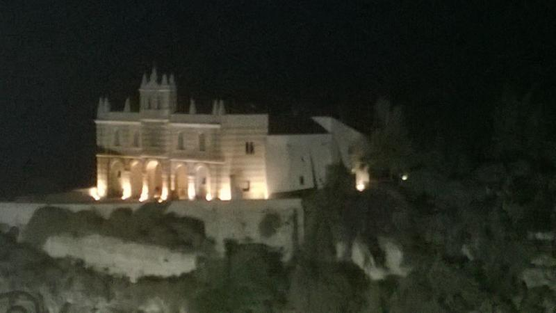 The church of Santa Maria dell'Isola, viewed from Tropea at night