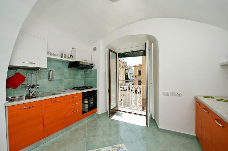 Kitchen overlooking piazza municipio