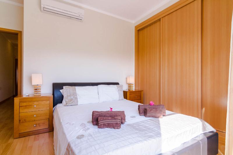 Double bedroom with balcony upstairs overlooking pool area