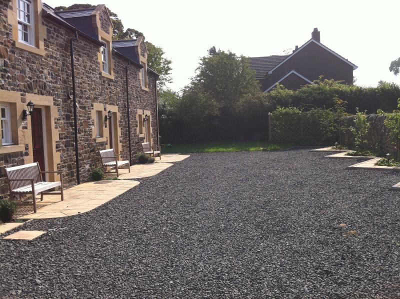 West facing terrace for each cottage - perfect for evening BBQs