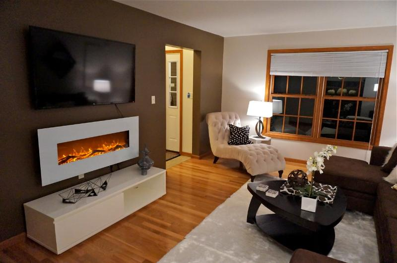 55' LED HDTV with over 100 HD channels, and electric wall fireplace