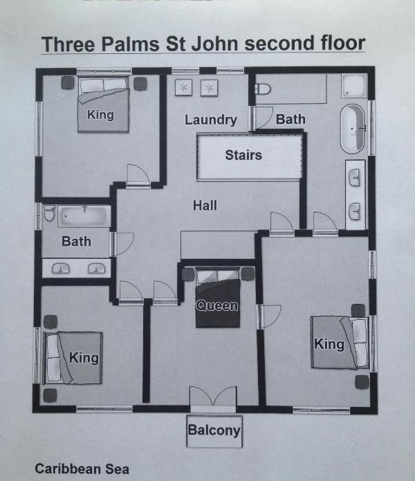 Tre palme St John piano piano secondo piano