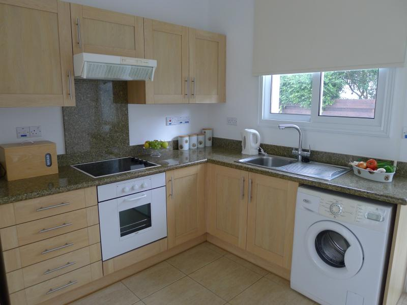 Spacious, well equipt kitchen with door leading out onto the lawned area