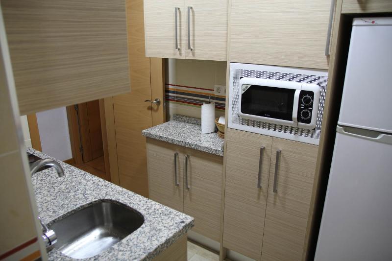 Cocina, con placa vitrocerámica, microoondas, frigorífico, calentador de agua y útiles de cocina