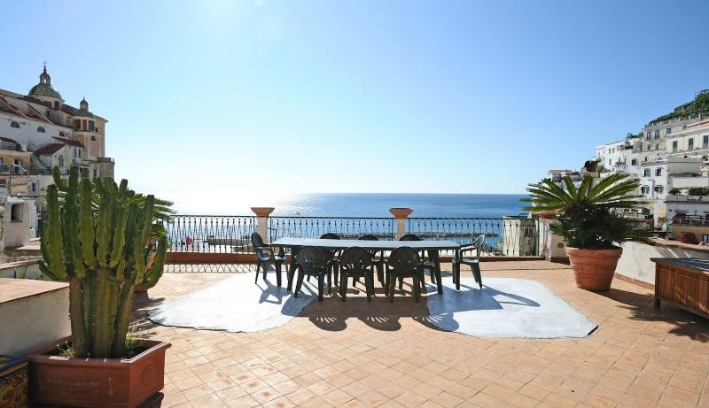 Large, private terrace overlooking the sea