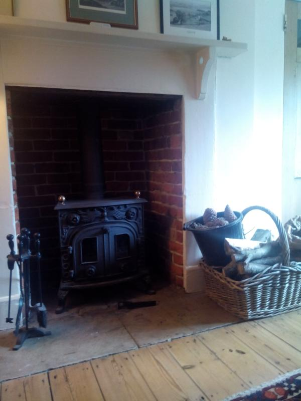 Wood burning stove in the sitting room with logs provided