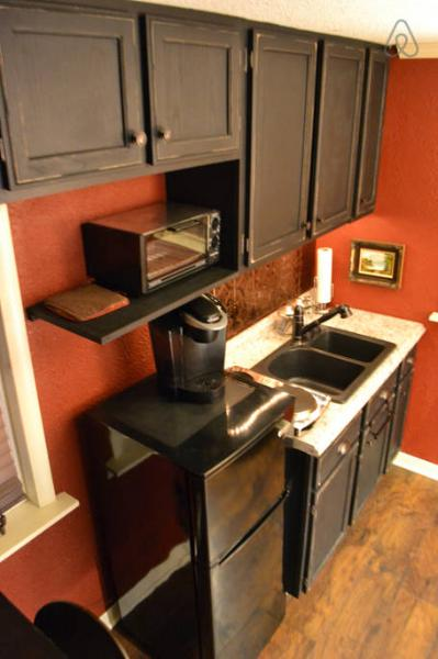 Kitchenette with several of the appliances shown.