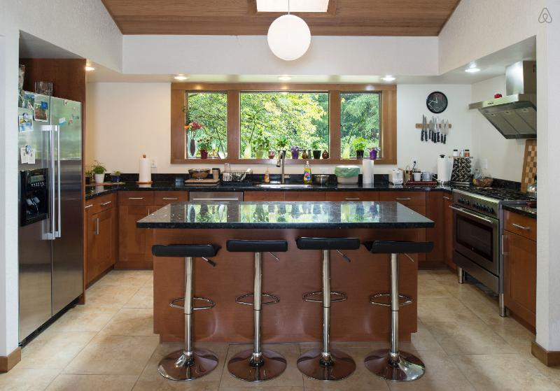 Bar-style kitchen with black granite counter tops