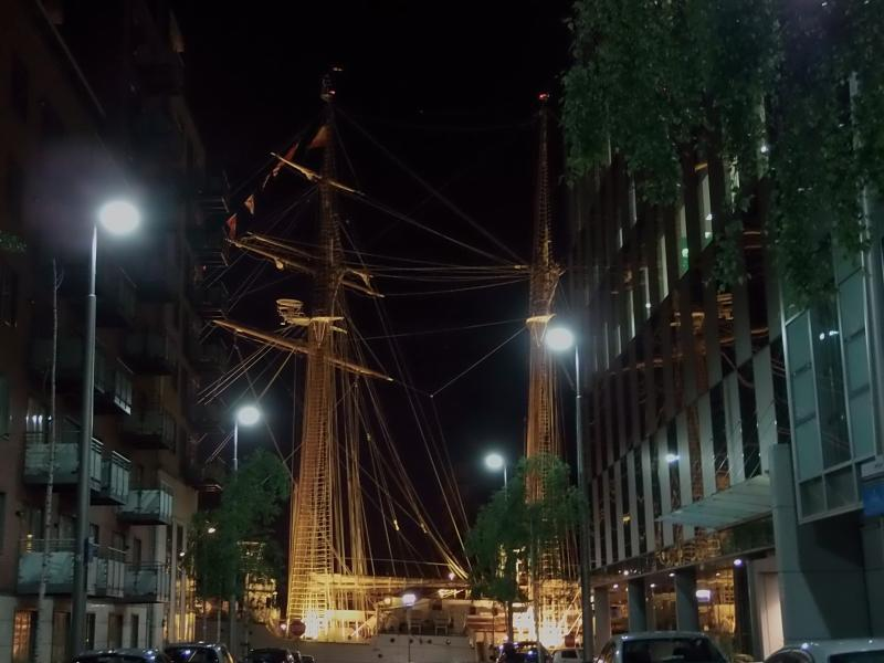 Tall ships sometimes dock at the end of our street.