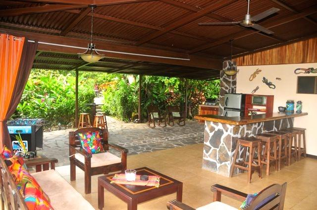 Outdoor living area, dining area, bar & patio with BBQ