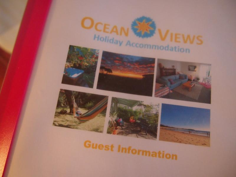 Guest information book includes maps, restaurant menus and transport timetables