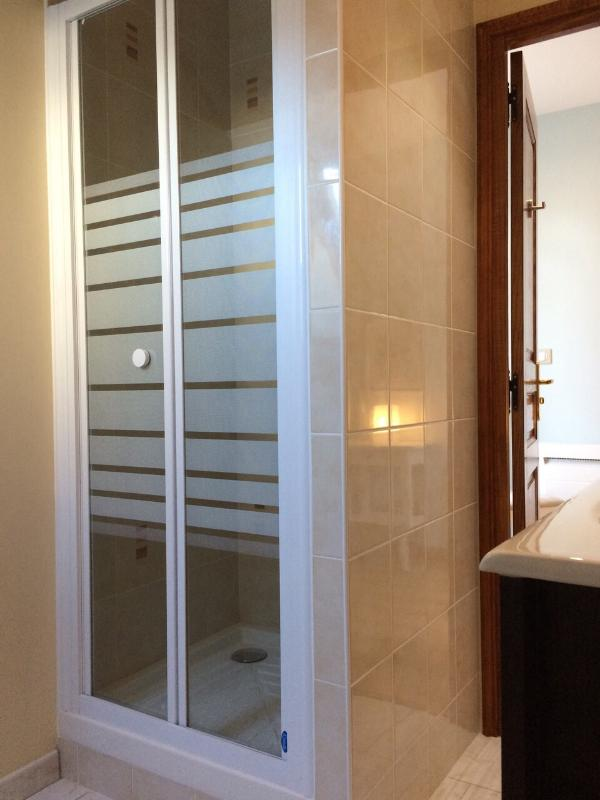 Brand new shower room with toilet and wash basin