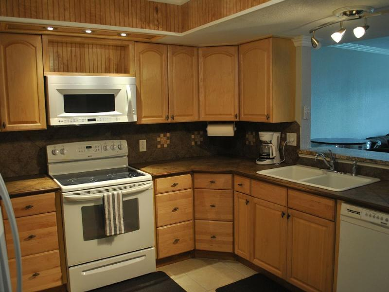 Lots of cabinet and counter space plus plenty of lighting in kitchen.